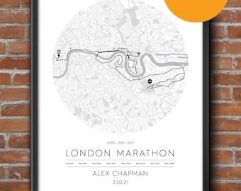 London Personalised Marathon Poster / Memento / Gift / Art Print / Route / Map