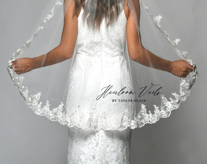 Lace Wedding Veil, Simple Wedding Veil, Multiple Lengths and Colors, Customized Wedding Veil SC-04