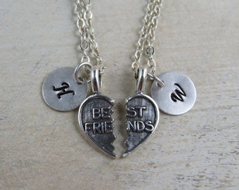 Two Sterling silver best friends necklaces, initial necklace, best friends initial necklace, Friendship necklaces,  best friends charms