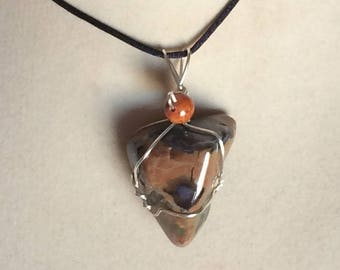 Rainforest Jasper Pendant Wire Wrapped Necklace