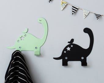 Two Metal coat rack, Dinosaur hooks for kids, Dinos bedroom decorative wall hanger, Dino décor