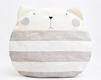 Cat Pillow Kids, Floor Cushion, Striped Pillow, Gray Baby Room Decor, Round Cushion, Decorative Pillow, Housewarming Gift, Kids Room Decor