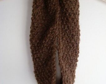 Chocolate brown knitted cowl