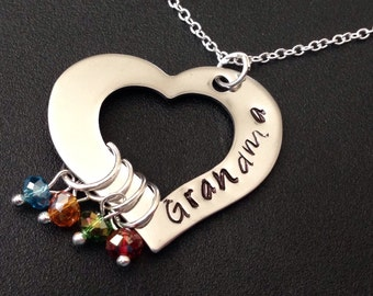 Hand Stamped Jewelry - Personalized Jewelry - Grandma Heart Necklace - Engraved - Grandmother Necklace - four Birthstones