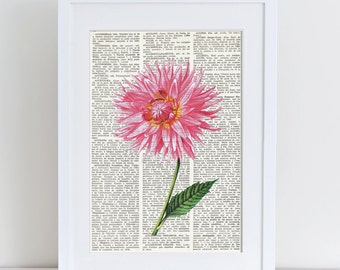 Dictionary Art Print PINK DAHLIA, Dictionary Art, Vintage Wall Art, Dictionary Print, Wall decor, flower, FLOWERS, botanic, floral art, #079