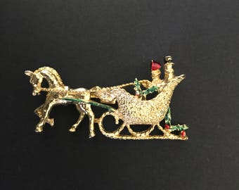 Vintage Gerry's Sleigh Ride Brooch, Christmas, Signed