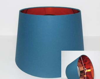 Teal Blue & Copper Tapered Lampshade