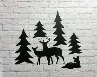 Vinyl Wall Decals Woodland Scene Deer