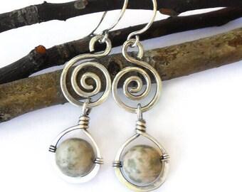 Nevada Lapis earrings, silver wire earrings, silver boho earrings, wire wrapped jewelry, wire wrapped earrings, bohemian earrings