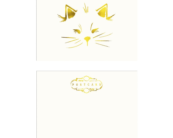Our own Cat Illustration Postcard in gold foil