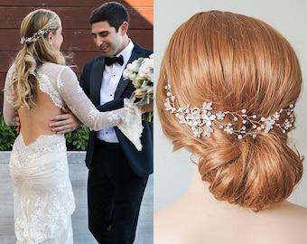 Rose Gold Wedding Headband, Silver, Gold Bridal Hair Vine, Flower Leaf Boho Headpiece, Pearl Hair Accessories, Wedding Hair Jewelry, TAYAH