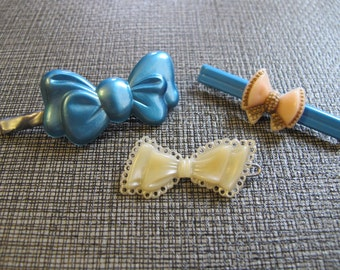 Vintage 60s French Barrettes-Set of 3 Bows
