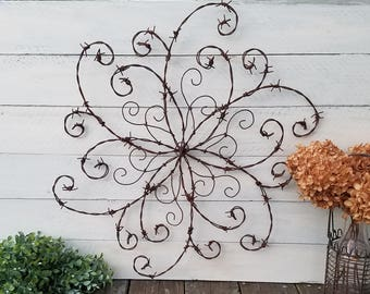 Barbed Wire Swirl; Wrought Iron Swirl; Barbed Wire Wall Decor; Rustic Decor; Front Door; Wall Hanging; Farmhouse Decor; Western Decor