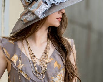 Grey & Taupe Large Brim Hat With Rosette