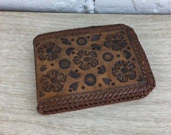 Tooled Ostrich Leather Wallet