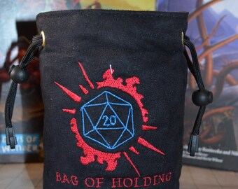Dice Bag custom Embroidery Suede D20 Bag of holding