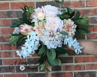 Huge Champagne Bouquet - Modern Garden Bouquet - Silk Garden Bouquet - Large Cascade Bouquet - Large Blush Bouquet - Blush Garden Bouquet