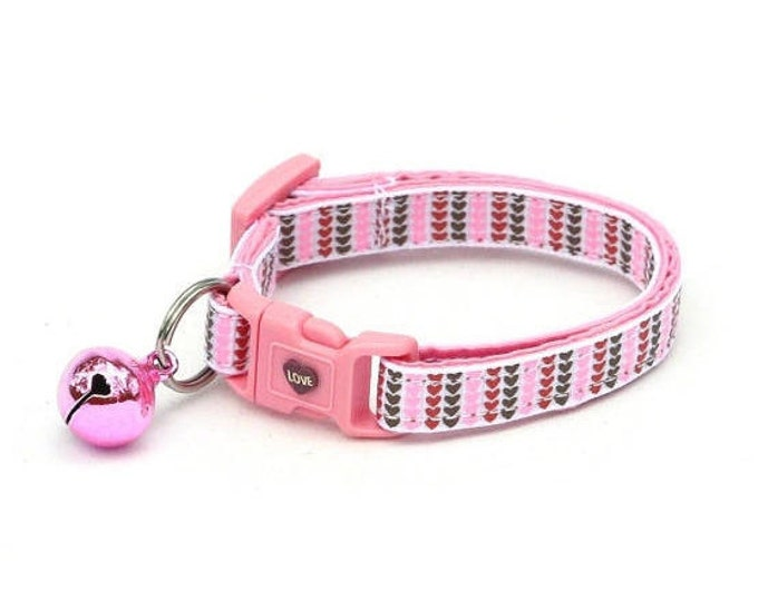 Valentines Day Cat Collar - Mini Heart Stripes in Pink, Brown, & Red - Kitten or Large Size