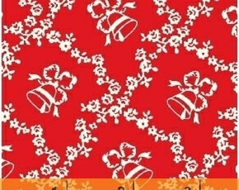 Storybook Christmas Red Lattice with Bells 41746-3 by Whistler Studios for Windham Fabrics