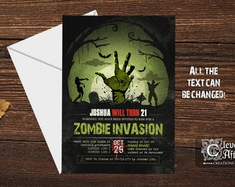 Zombie Party Invitation Halloween Night of Undead Birthday Invite walking zombie invasion dead apocalypse infected printable printed
