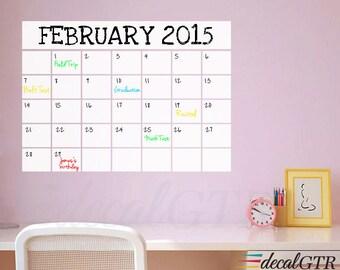 Dry Erase Calendar Decal - Dry Erase Monthly Calendar - Dry Erase Wall Calendar - White Vinyl Sticker - D033