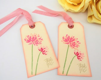 Floral Boho Chic Wedding Tags - Garden Party Thank You Tags - Pink and Gold Bridal Shower Gift Tag - Birthday Party - Sweet 16 Favor Tags