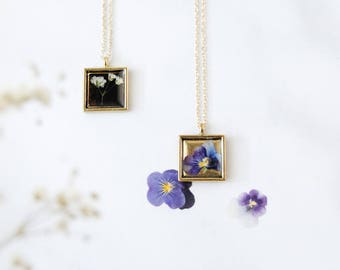 Pressed Flower Necklace - Flower Pendant, Real Flower Jewelry, Anniversary, Gift for Her, For Mom, Baby's Breath Queen Anne's Lace, BFF