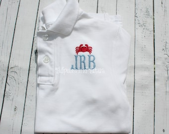 Monogrammed Mini Crab Polo OR Tshirt