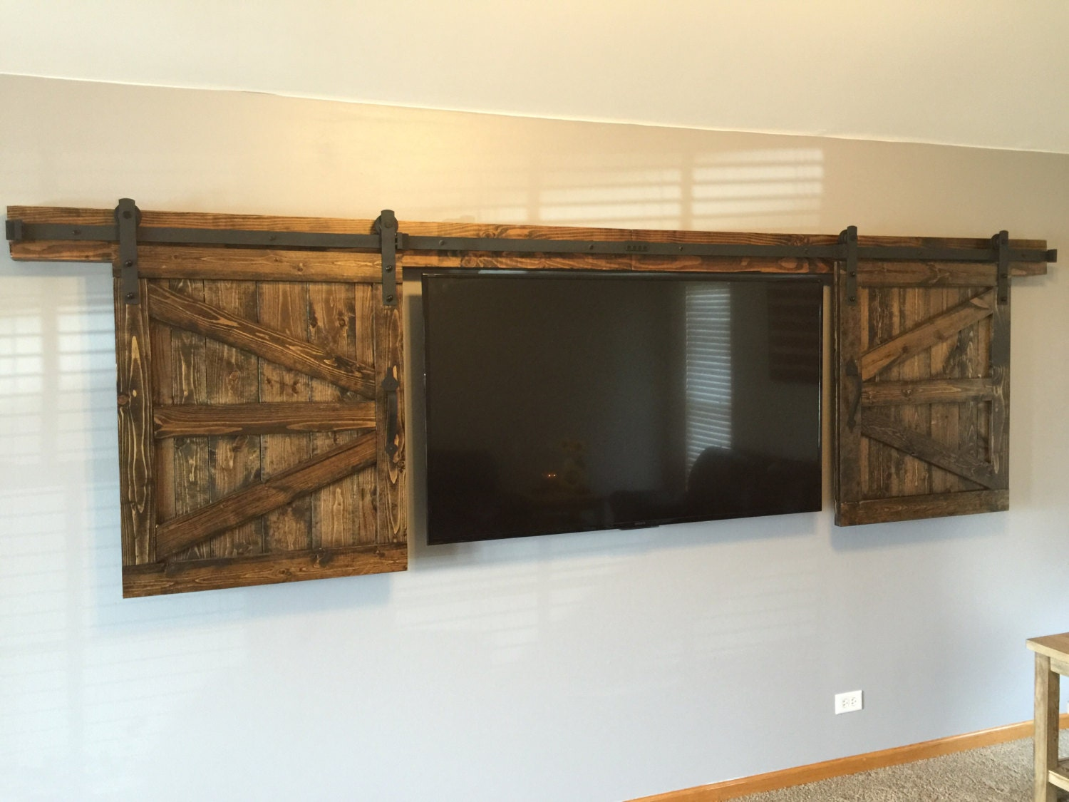 TV Hide Barn Door Set - Rustic TV Barn Door - Sliding Window - Interior - Sliding TV Cover - Barn Door Cabinet - Farmhouse Door & TV Hide Barn Door Set - Rustic TV Barn Door - Sliding Window ...