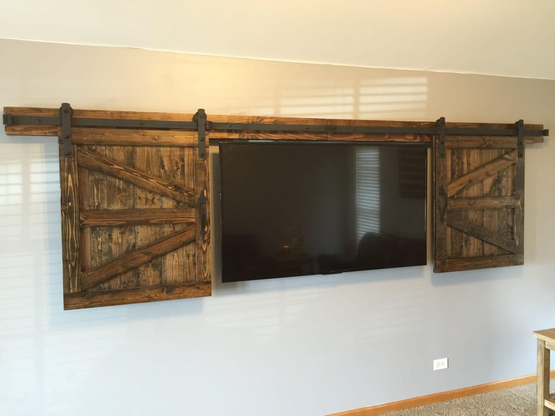 TV Hide Barn Door Set - Rustic TV Barn Door - Sliding Window ...