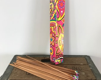 Vintage 1970's Large Rainbow Paisley Psychedelic Box of Firplace BBQ Matches