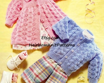 Baby Boys Girls Cardigan and Matinee Jacket DK/ 8ply Baby Knitting Pattern Instant download PDF Baby Pattern - 258