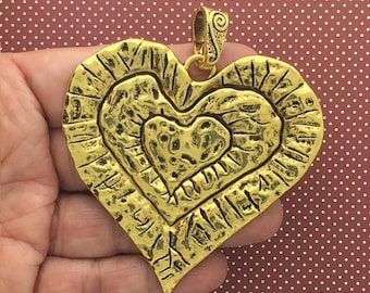 1 Heart Charm Pendant Hammered Gold SP1550