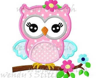 Girl owl on a flower tree machine embroidery design digital pattern