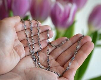 Gold Labradorite Necklace - Gemstone Necklace - long station necklace - layering necklace - anthropologie necklace - boho long necklace