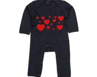 Heart bodysuit, baby hearts bodysuit, baby valentines bodysuit, valentines day bodysuit, baby valentines gift, baby heart bodysuit, lovers