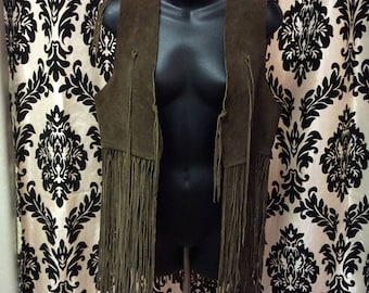 1960's Genuine Suede Leather Fringe Vest