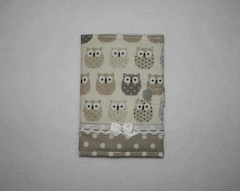 Protects passport, owls, polka dots, lace and bow satin tone taupe and ecru