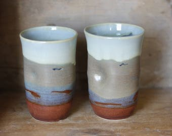 Stemless Wine Scotch or juice cup in Celtic Beach by village pottery PEI