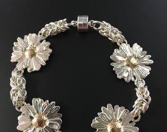 Marguerite Daisy Byzantine Link Bracelet in Sterling and 10k Gold