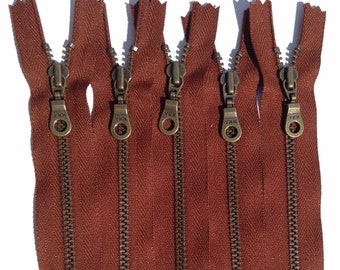 YKK Metal Teeth Zippers- Rusty Red Brown Antique Brass Donut Pull-Color 236 Cayenne- 5 Pieces- Currently available in 9,11, or 14 Inch