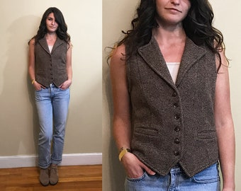 Vintage 100% Lambswool Green Label Ralph Lauren Brown Button Up Sleeveless Vest Size Small