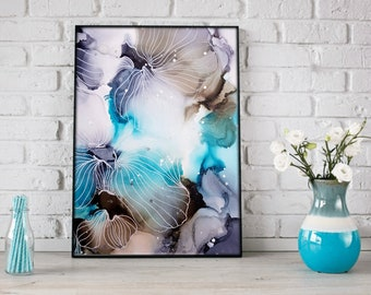 Abstract Flower Painting, Blue Flower Painting, Alcohol Ink Art, Ink Painting, Abstract Art, Original Art,