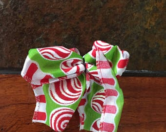 Peppermint holiday hair bow