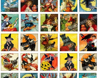 """CLASSIC WITCHES - Digital Printable Collage Sheet - Vintage Halloween Witches & Black Cats, 1"""" Square or Scrabble Tile, Instant Download"""