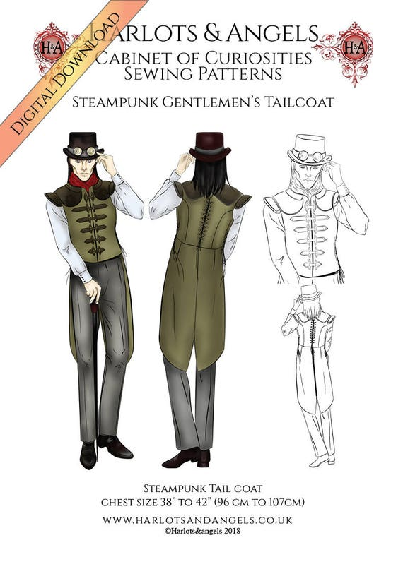 Steampunk Sewing Pattern Mens Tailcoat Vest Pattern Instant