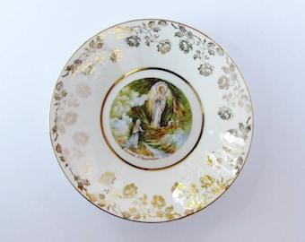 Lovely porcelain plate from Lourdes, France - 14.5 cm