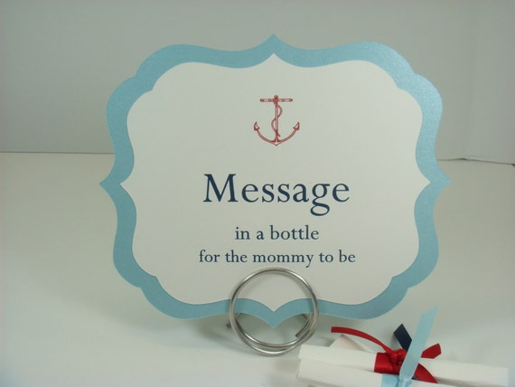 Nautical Baby Shower Message In A Bottle Sign And Text Paper