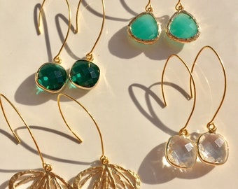 NEW Jewel Drop Earrings || Brushed Gold || French Hook || Emerald Earrings || Pop of Color