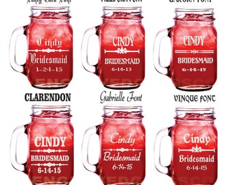 20 Bridesmaid Mason Jar Personalized Mason Jar, Engraved Mason Jars, Etched Mason Jar Wedding Party Mason Jars